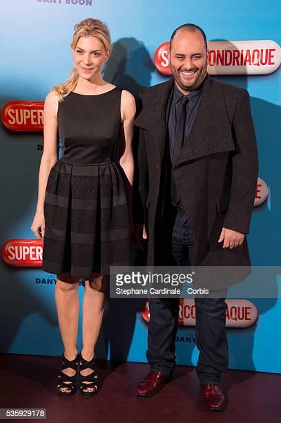Judith El Zein and Jerome Commandeur attend the 'Supercondriaque' Paris Premiere at Gaumont Capucines in Paris