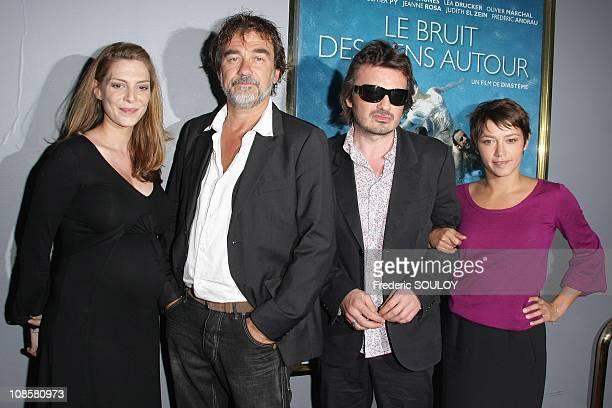 Judith El Zein Olivier Marchal director Diasteme and Emma de Caunes in Paris France on July 07 2008