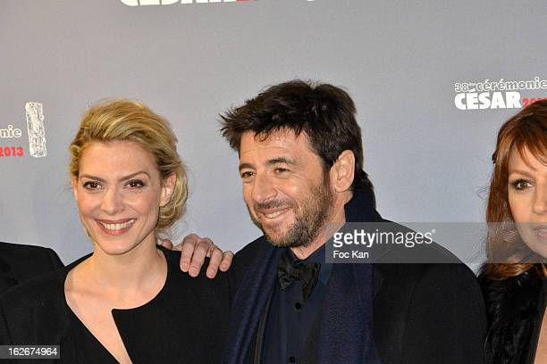 Judith El Zein Patrick Bruel and Valerie Benguigui attend the Red Carpet Arrivals Cesar Film Awards 2013 at Theatre du Chatelet on February 22 2013...