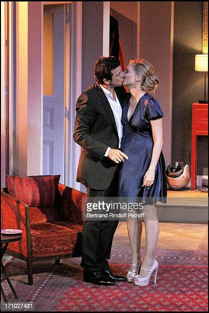 Judith El Zein Patrick Bruel at Run Through Of The Play Le Prenom At Theatre Edouard 7 In Paris