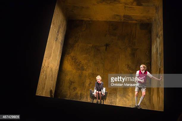 Judith Engel and Franz Hartwig perform on stage during rehearsals for 'Tartuffe' at Schaubuehne Berlin on December 17 2013 in Berlin Germany The...