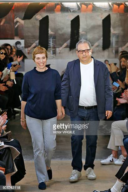Judith et Jean Touitou walks the runway during the APC Ready to Wear fashion show as part of the Paris Fashion Week Womenswear Fall/Winter 2018/2019...
