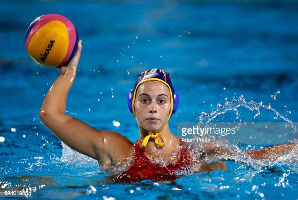 Judith Forca Ariza of Spain in action during the Women's Water Polo gold medal match between the United States and Spain on day fifteen of the...