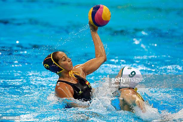 Judith Forca Ariza of Spain makes a shot at goal during the Women's Water Polo 5th 6th Classification match between Australia and Spain on Day 14 of...