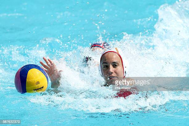 Judith Forca Ariza of Spain takes the ball during the Preliminary Round Group B Womens Waterpolo match between Spain and the USA on Day 4 of the Rio...