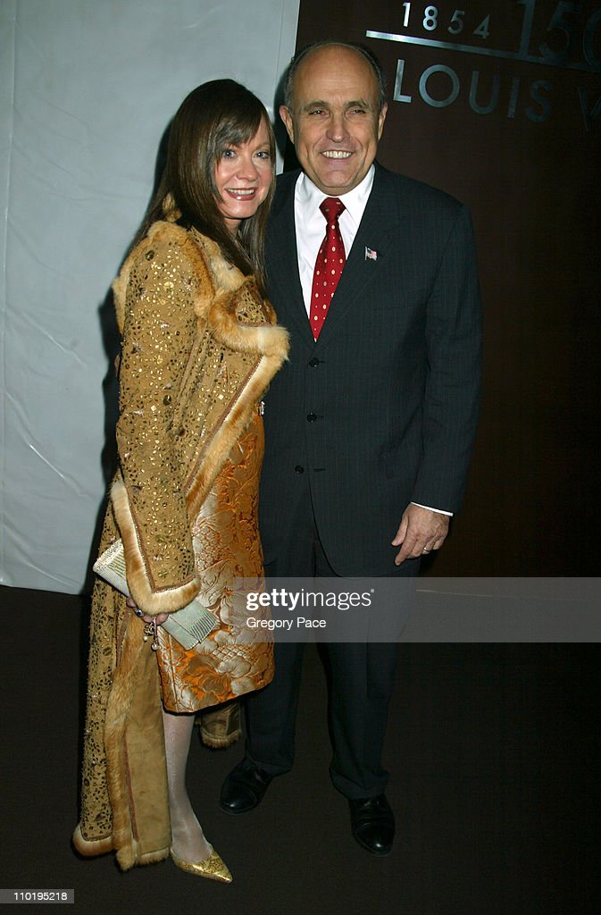 Judith Giuliani and Rudolph Giuliani during Louis Vuitton 150th Anniversay Celebration - Inside at Louis Vuitton Tent at Lincoln Center in New York City, New York, United States.