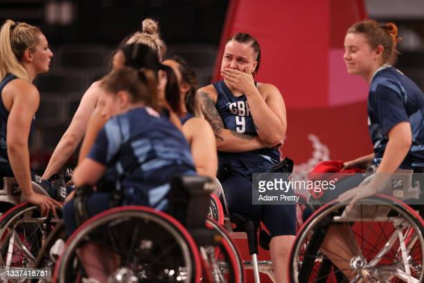 Judith Hamer of Team Great Britain reacts with teammates after being defeated by Team China in the women's Wheelchair Basketball Quarterfinals on day...
