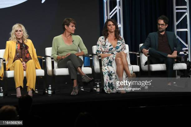 Judith Light Alexandra Billings Amy Landecker and Jay Duplass of 'Transparent' speak onstage during the Amazon Prime Video segment of the Summer 2019...