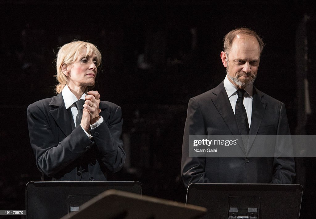 Judith Light and David Hyde Pierce perform during the 'Gross Indecency: The Three Trials Of Oscar Wilde' curtain call at Gerald W. Lynch Theatre on October 5, 2015 in New York City.