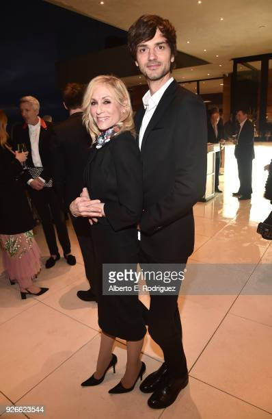 Judith Light and David Jarre attend a cocktail party hosted by the Elton John AIDS Foundation and BBVA Compass to celebrate EJAF the 90th Academy...