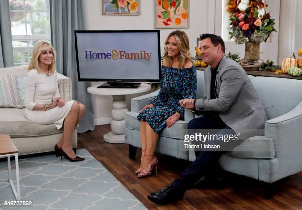 Judith Light Debbie Matenopoulos and Mark Steines talk on the set of Hallmark's 'Home and Family' at Universal Studios Hollywood on September 19 2017...