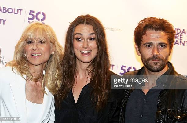 Judith Light Keira Knightley and Matt Ryan pose at the Roundabout Theater Company's 50th Anniversary Season Party at The American Airlines Theater...