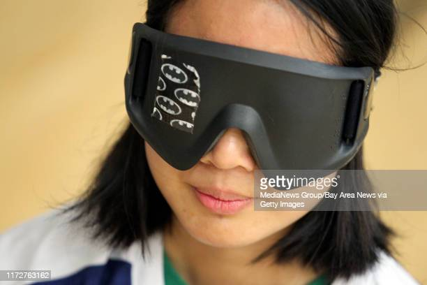 Judith Lung wears blacked-out goggles as she prepares for Goalball team practice at UC Berkeley in Berkeley, Calif., Friday, Oct. 31, 2014. Cal's...