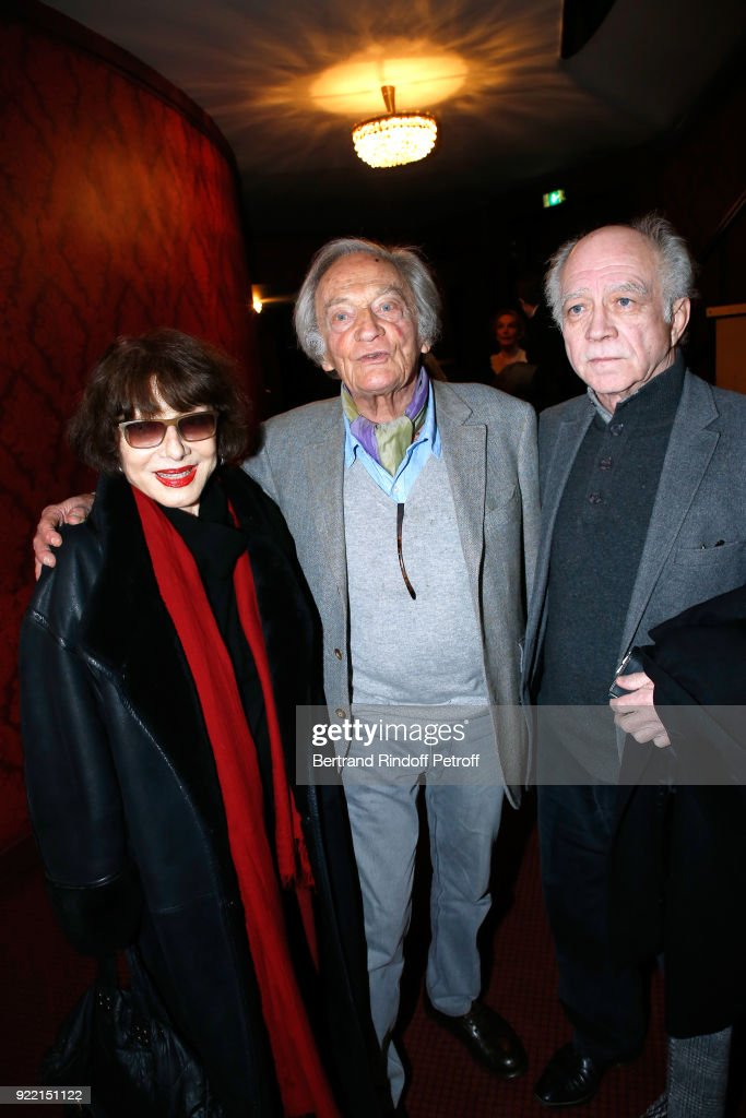 Judith Magre, 'Honorary Brigadier' for the quality of his programming, Director of Poche-Montparnasse Theater, Philippe Tesson and Director of the Mathurins Theater, Daniel Colas attend the 'Le Prix du Brigadier 2017' Award at Theatre Montparnasse on February 21, 2018 in Paris, France.