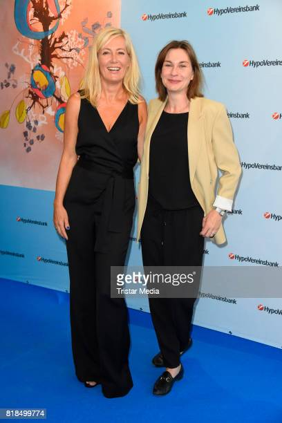 Judith Milberg and Christiane Paul attend the exhibition opening 'Judith Milberg Aus der Mitte' at HypoVereinsbank Charlottenburg on July 18 2017 in...