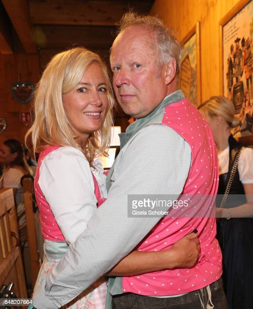 Judith Milberg and her husband Axel Milberg during the 'Fruehstueck bei Tiffany' at Schuetzenfesthalle at the Oktoberfest on September 16, 2017 in...