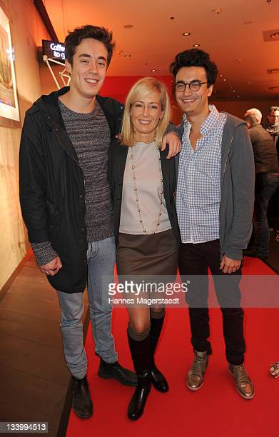 Judith Milberg and her sons Simon and Julius Betzler attend 'Too Big to Fail' preview screening of German Pay TV channel TNT Film at Mathaeser...