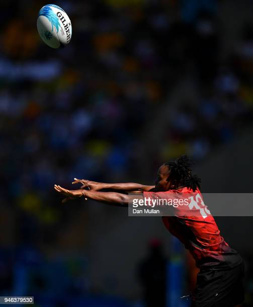 Judith Okumu of Kenya throws in at the lineout during the Rugby Sevens Women's Placing 56th match between Fiji and Kenya on day 11 of the Gold Coast...