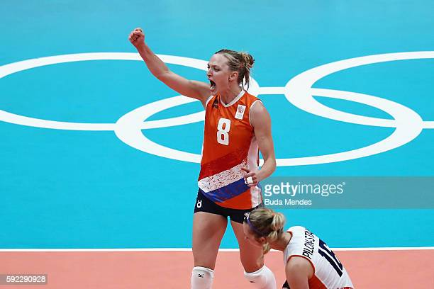 Judith Pietersen of Netherlands celebrates winning the second set during the Women's Bronze Medal Match between Netherlands and the United States on...