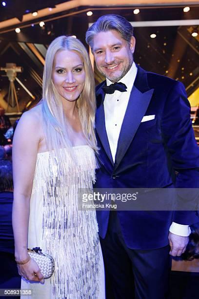 Judith Rakers and Andreas Pfaff attend the Goldene Kamera 2016 show on February 6 2016 in Hamburg Germany