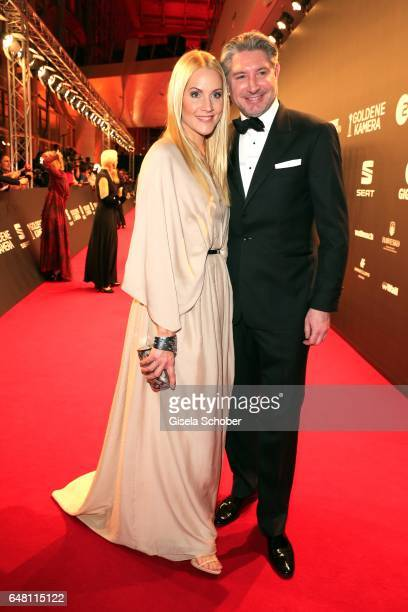 Judith Rakers and her husband Andreas Pfaff during the Goldene Kamera reception at Messe Hamburg on March 4 2017 in Hamburg Germany