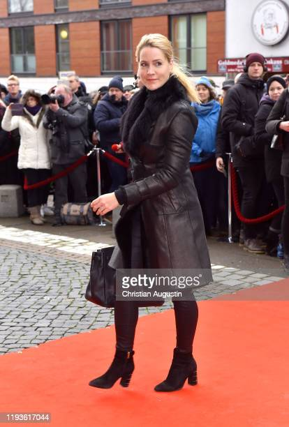 Judith Rakers during the memorial service for Jan Fedder at Hamburger Michel on January 14 2020 in Hamburg Germany German actor Jan Fedder was...