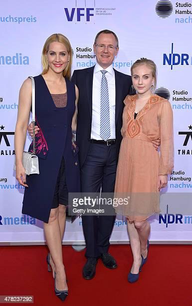 Judith Rakers Johannes Zuell and Elisa Schlott attend the Studio Hamburg Nachwuchspreis 2015 at Thalia Theater on June 23 2015 in Hamburg Germany