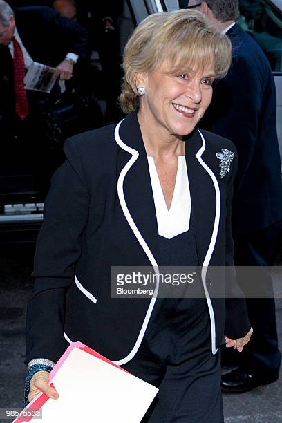 Judith Rodin president of the Rockefeller Foundation and a member of the board of Citigroup Inc arrives for Citigroup's annual shareholders meeting...