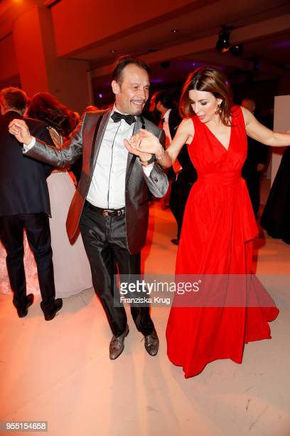 Judith StecherWilliams wearing a dress by Minx and AlexanderKlaus Stecher during the Rosenball charity event at Hotel Intercontinental on May 5 2018...