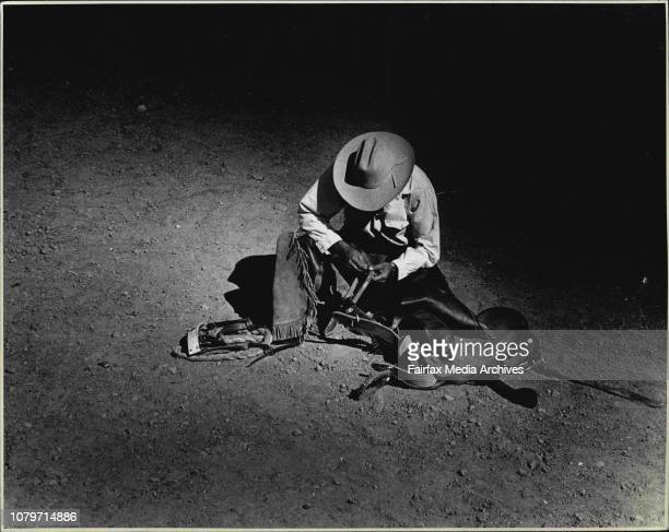 Judith Whelan Tamworth Music Festival Brad Southon prepares himself for the start of the rodeo January 15 1988