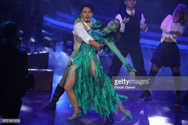 Judith Williams and Erich Klann during the finals of the 11th season of the television competition 'Let's Dance' on June 8 2018 in Cologne Germany
