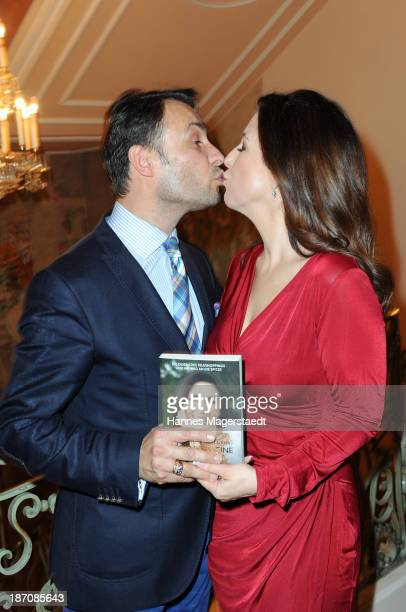 Judith Williams and husband AlexanderKlaus Stecher attend the book launch of 'Stolpersteine Ins Glueck' by Judith Willams at Hotel Bayerischer Hof on...