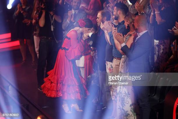 Judith Williams together with her dad during the finals of the 11th season of the television competition 'Let's Dance' on June 8 2018 in Cologne...