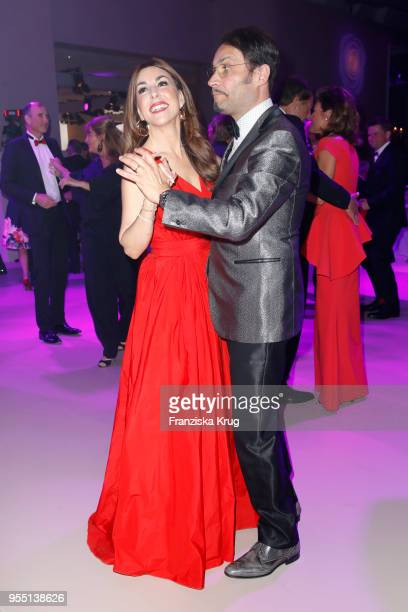Judith Williams wearing a dress by Minx and her husband Alexander Klaus Stecher during the Rosenball charity event at Hotel Intercontinental on May 5...