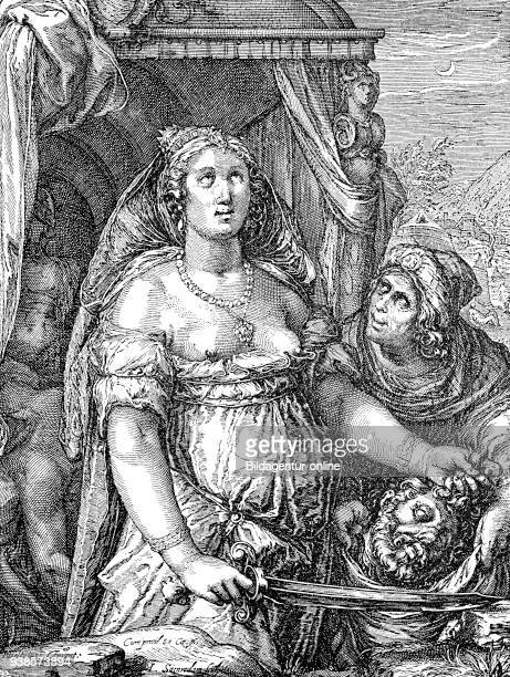 Judith with bare breasts and swords beheaded Holofernes symbolic representation of the power of the woman copper engraving from Samredam to Goltzius...