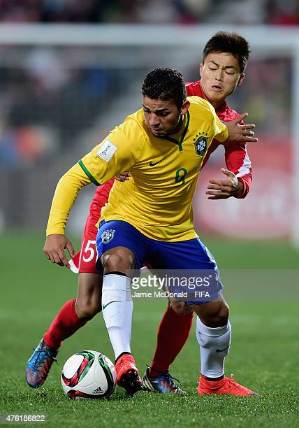 Judivan of Brazil battles with Choe Ju Song of Korea DPR during the FIFA U20 World Cup New Zealand 2015 Group E match between Brazil and Korea DPR at...