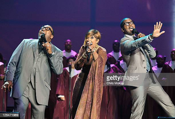Judje Marvin Sapp and hosts Dorinda ClarkCole and Donald Lawrence perform with during Verizon's How Sweet The Sound 2011 at Philips Arena on...