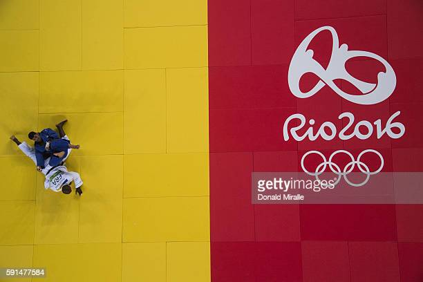 2016 Summer Olympics Aerial view of Israel Or Sasson in action vs France Teddy Riner the Men's Judo over 100kg Bronze Medal bout B at Carioca Arena 2...