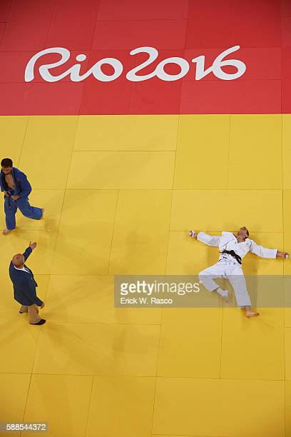 2016 Summer Olympics Aerial view of Russia Khasan Khalmurzaev victorious vs Canada Antoine ValoisFortier after Men's 81kg Quarterfinals at Carioca...