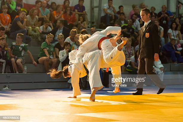 judo competition during international children games 2015 - judo stock photos and pictures