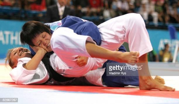 Judo: Olympische Spiele Athen 2004, Athen; -63kg / Frauen; Claudia HEILL / AUT , Ayumi TANIMOTO / JPN 17.08.04.
