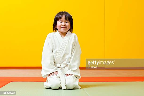 Judo player of a young girl