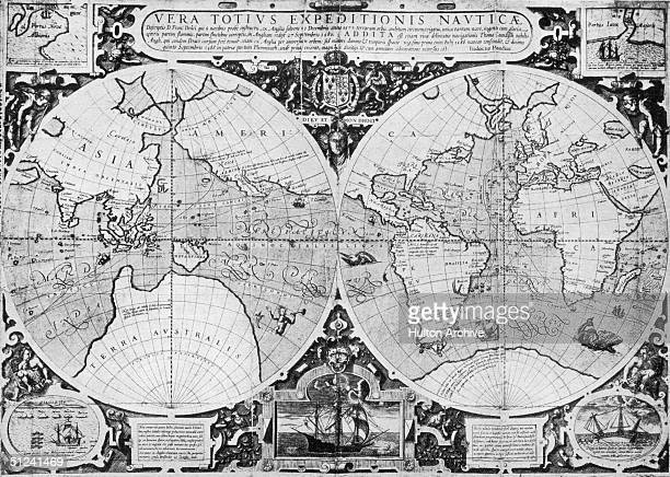 1595 Judocus Hondius' map showing Sir Francis Drakes voyage around the world