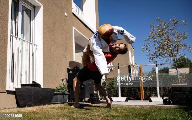Judoist Alexander Wieczerzak trains in the garden of his apartment on April 23 2020 in Cologne Germany The World Champion from 2017 trains at home...