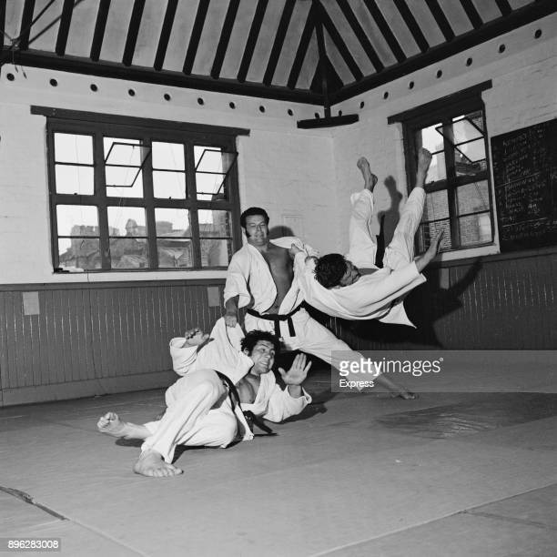 Judoka Angelo Parisi, Keith Remfry and Roy Inman training for the Judo World Championships, London, UK, 4th August 1971.