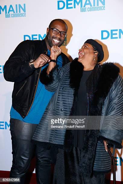 "Judoka Teddy Riner and ex-wife of Mohamed Ali, Belinda Boyd, alias Khalilah Camacho Ali, attend the ""Demain Tout Commence"" Paris Premiere at Cinema..."
