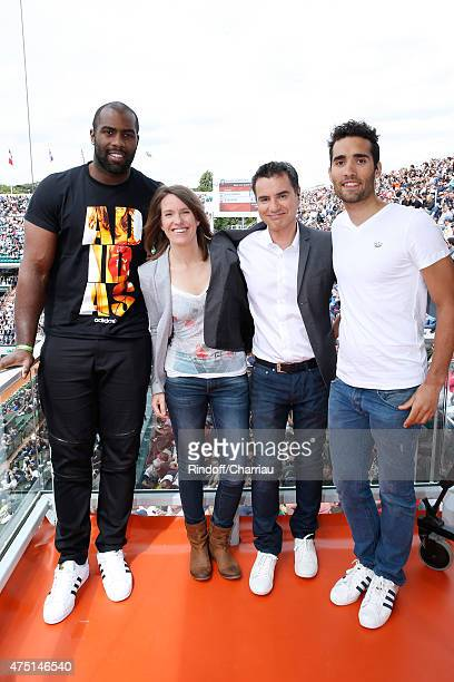 Judoka Teddy Riner Former Tenis player Justine Henin Sports journalist Laurent Luyat and Biathlete Martin Fourcade pose at France Television french...