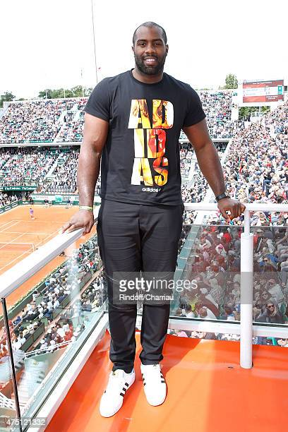 Judoka Teddy Riner poses at France Television french chanel studio during the 2015 Roland Garros French Tennis Open - Day Six, on May 29, 2015 in...