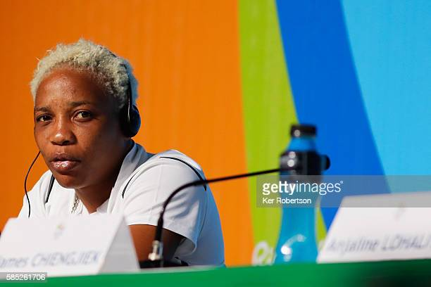 Judoka Yolande Mabika from the Democratic Republic of the Congo talks while attending a press conference given by the Olympic Refugee Team on August...