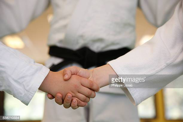 Judokas shaking hands